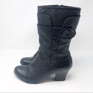 Born leather black button heel boots